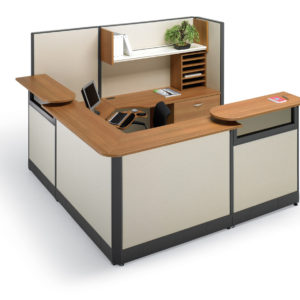 Reception Desk with Panels and Overhead Storage